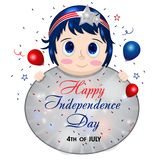 4th July poster with pretty girl. Young woman holding sign. Female in patriotic colors. Happy Independence Day. USA. United States stock illustration