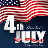 Happy Independence day 4th july with waving flag. Illustration of Happy Independence day 4th july with waving flag Royalty Free Stock Photo