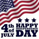Happy Independence Day 4 th of July with a waving flag on white background. Greeting card patriotic poster vector illustration