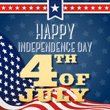Happy Independence day, 4th of July wavy flag design, Greeting card template. Happy independence day celebration greeting card design with badge logo, star, wavy royalty free illustration