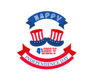 Happy independence day with Top hat made of United States flag. Royalty Free Stock Photography