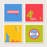 Happy independence day, United States of America card set. Fourthof July. Stock Photography