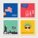 Happy independence day, United States of America card set. Fourthof July. Royalty Free Stock Photo