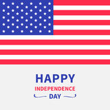Happy independence day United states of America. Star and strip american flag. 4th of July. White background. Flat design. Stock Photos