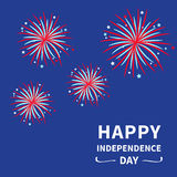 Happy independence day United states of America. 4th of July. Fireworks night sky Star and strip Flat design. Vector illustration Royalty Free Illustration