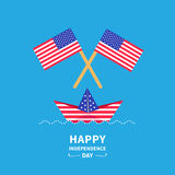 Happy independence day United states of America. 4th of July. Paper boat. Vector illustration Stock Photos