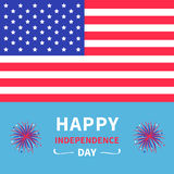 Happy independence day United states of America. 4th of July. Star and strip american flag. Firework icon. Blue background. Flat d. Esign. Vector illustration vector illustration