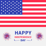 Happy independence day United states of America. 4th of July. Star and strip american flag. Firework icon. White background. Flat. Design. Vector illustration Royalty Free Stock Photos