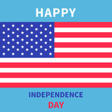 Happy independence day United states of America. 4th of July. Star and strip flag. Blue background. Flat design. Vector illustration Royalty Free Stock Image