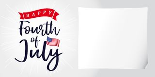 Happy 4th of July, Independence Day of USA, lettering and light beams poster Stock Images