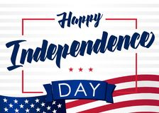 Happy Independence Day of the United States, July 4th. Happy Fourth of July light stripes greeting card. Hand lettering banner with letters on flag USA. Vintage Stock Photos