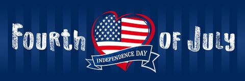 Happy Independence Day of the United States, July 4th. Happy Fourth of July flag in heart, navy blue greeting card. Lettering banner with grunge letters and flag Stock Image