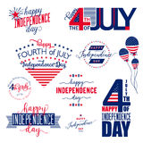 Happy Independence Day United States overlay . Fourth of July - July4th banner, label or poster. Vector Set Royalty Free Stock Photography