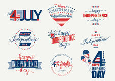 Happy Independence Day United States overlay. Fourth of July - July4th banner, label or poster. Vector Set Royalty Free Stock Photos