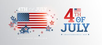 Happy Independence Day USA background with the United States flag. 4th of July USA independence day celebration vector. Illustration royalty free illustration