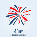 Happy  Independence  Day of  the  USA  card  with  firework. Stock Photos