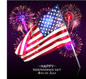 Happy Independence Day with USA flag and fireworks Royalty Free Stock Image