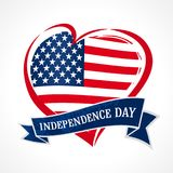 Happy Independence Day of USA flag in heart, July 4th. Happy Fourth of July vector greeting card. Hand lettering banner with letters on ribbon and flag USA Stock Image