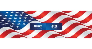 Happy Independence Day USA flag two fold greeting card. Background banner vector royalty free illustration