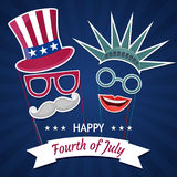 Happy Independence Day USA. Fourth of July. Patriotic attributes, party invitation. Vector illustration EPS10 Stock Photography