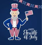 Happy Independence Day USA. Fourth of July. Patriotic attributes, party invitation. Vector illustration EPS10.  Royalty Free Stock Images