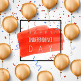 Happy independence day USA. Gold foil balloons and confetti. Vector. Celebration background for 4th of July. Trendy. Black frame and brush stroke. Greeting card Royalty Free Stock Images