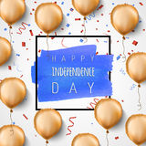 Happy independence day USA. Gold foil balloons and confetti. Vector. Celebration background for 4th of July. Trendy. Black frame and blue hand painted brush Royalty Free Stock Image