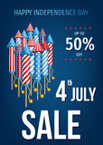 Happy  Independence Day of the USA sale banner. Royalty Free Stock Photos