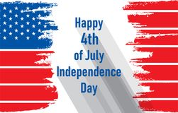 Happy independence day of USA. 4th of july USA independence day greeting card, national flag design Stock Photos