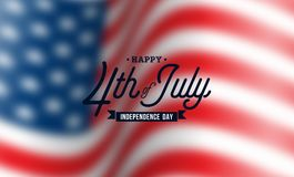 Happy Independence Day of the USA Vector Background. Fourth of July Illustration with Blurred Flag and Typography Design. For Banner, Greeting Card, Invitation Stock Illustration