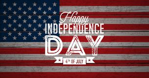 Happy Independence Day of the USA Vector Illustration. Fourth of July Design with Flag on Vintage Wood Background for. Banner, Greeting Card, Invitation or Vector Illustration