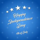 Happy Independence Day! vector illustration on blue background. The 4th of July. Happy Independence Day! vector illustration on blue background with stars. The royalty free illustration