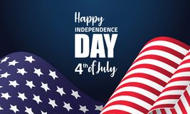 Happy Independence day vector illustration. With waving American flag on a dark background. Ideal for banners, flyers and posters Stock Photos