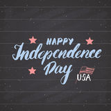 Happy Independence Day Vintage USA greeting card, United States of America celebration. Hand lettering, american holiday grunge te Royalty Free Stock Photos
