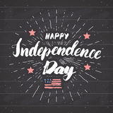 Happy Independence Day Vintage USA greeting card, United States of America celebration. Hand lettering, american holiday grunge te Royalty Free Stock Photography
