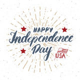 Happy Independence Day Vintage USA greeting card, United States of America celebration. Hand lettering, american holiday grunge te Stock Images