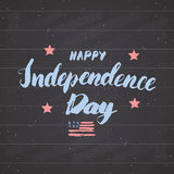 Happy Independence Day Vintage USA greeting card, United States of America celebration. Hand lettering, american holiday grunge te Stock Image