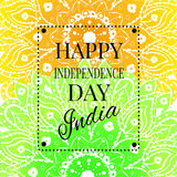 Happy India Independence Day postcard with mandala Royalty Free Stock Image