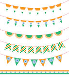 Happy India Independence Day. set of ribbon garland and flag. Vector illustration.  Royalty Free Stock Images
