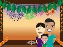 Happy Indian family. Illustration of Happy Indian family with fire works background Royalty Free Stock Photo