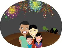 Happy Indian family. Illustration of Happy Indian family with fire works background Stock Photography