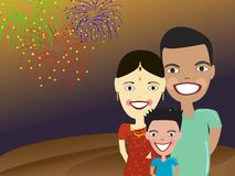 Happy Indian family at carnival. Illustration of Happy Indian family with fire works background Royalty Free Stock Images