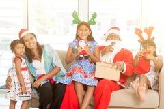 Asian Indian family celebrating Christmas stock photo