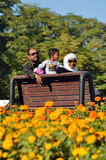 Happy Indian family sitting  on bench Stock Image