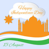 Happy Indian Independence Day. 15 august Indian Independence Day celebrations greeting card with flag and Taj Mahal Stock Image