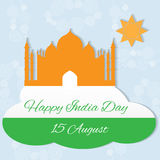 Happy Indian Independence Day. 15 august Indian Independence Day celebrations greeting card with flag and Taj Mahal vector illustration
