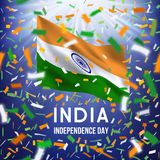 Happy Indian independence day card with confetti. Indian Independence day greeting card with colorful flying confetti and national flag. Yellow, white, green Stock Illustration