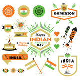 Happy Indian Independence Day design elements set Royalty Free Stock Images