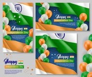 Happy Indian independence day posters set. Patriotic collection with realistic indian flag, air balloons and ashoka wheel. India country national celebration Royalty Free Stock Photos