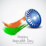 Happy Indian Republic Day celebration with Ashoka Wheel. Stock Image